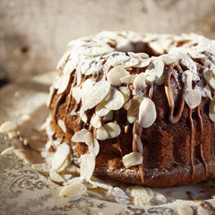 delicious cake with chocolate and almonds