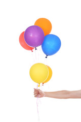 hand with colorful balloons