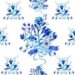 Watercolor floral seamless pattern illustration