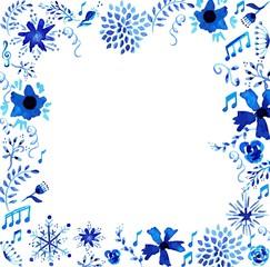 Watercolor floral frame illustration