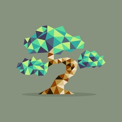 Origami triangle Bonsai tree illustration