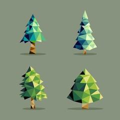 Polygonal abstract pine tree set
