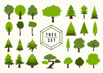 Eco Icon Tree illustration shapes set