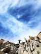 canvas print picture - man on top of mountain