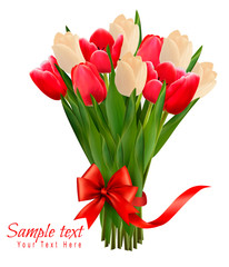 Holiday background with bouquet of colorful flowers with bow and