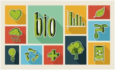 Ecology sketch style flat icon set