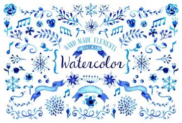 Watercolor floral set illustration