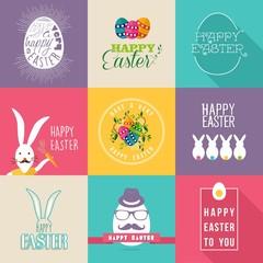 Happy Easter flat design labels set