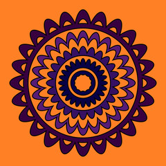 Set of five round floral frames. Purple and Orange