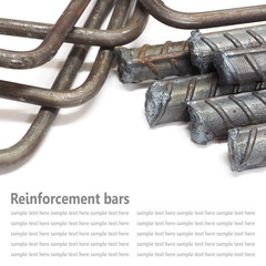 Steel rods, Reinforcement bars isolated on white background used