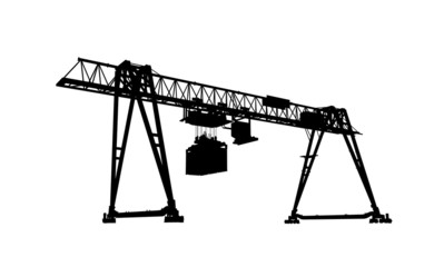 Container bridge crane, silhouette isolated on white