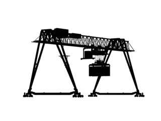 Black silhouette isolated on white, container gantry crane