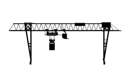Container bridge gantry crane. Front view silhouette