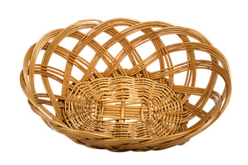 Empty wooden basket on white background