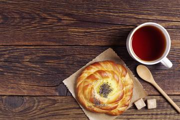 Fresh bun and tea