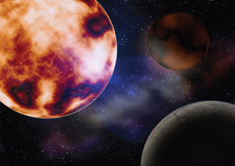 space with the sun planets illustration