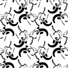 Seamless pattern with a rams heads