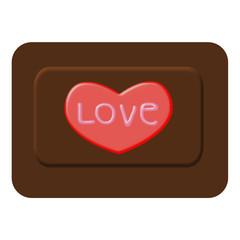red heart on chocolate symbol illustration