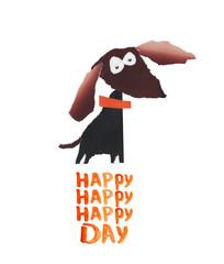 Dog. Happy day. Applique handmade