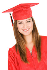 Graduate: Portrait Of Student In Red Cap and Gown