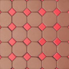 Hexagon and squares brick cement flooring