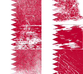Set of 6 Flags of Bahrain with old texture. Vector