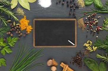 Zutaten, Kräuterküche, Kreidetafel