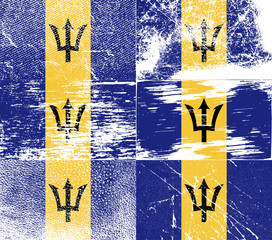 Set of 6 Flags of Barbados with old texture. Vector