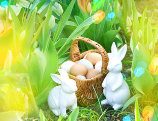 Easter eggs in basket with spring tulip flowers and bunnies