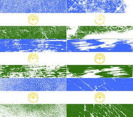 Set of 6 Flags of Bashkortostan with old texture. Vector
