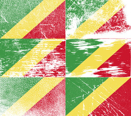 Set of 6 Flags of Congo Republic with old texture. Vector