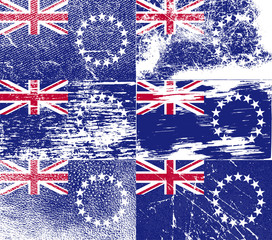 Set of 6 Flags of Cook islands with old texture. Vector