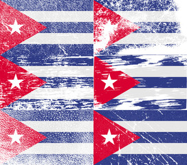 Set of 6 Flags of Cuba with old texture. Vector