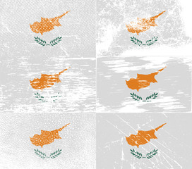Set of 6 Flags of Cyprus with old texture. Vector