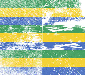 Set of 6 Flags of Gabon with old texture. Vector