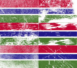Set of 6 Flags of Gambia with old texture. Vector