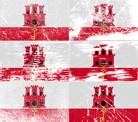 Set of 6 Flags of Gibraltar with old texture. Vector