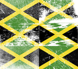 Set of 6 Flags of Jamaica with old texture. Vector