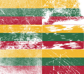 Set of 6 Flags of Lithuania with old texture. Vector