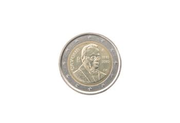 Commemorative 2 euro coin of Italy minted in 2010 over white