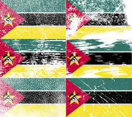 Set of 6 Flags of Mozambique with old texture. Vector