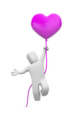 Man flying on balloons form of heart