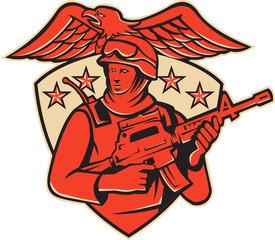 Soldier Swat Policeman Rifle Eagle Retro