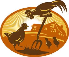 Rooster Hen Chicken Chicks Spade Retro