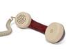canvas print picture - Telefon. Telefonhörer mit kabel auf weiß.