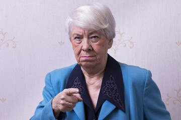 Elderly woman angry