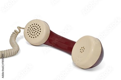 canvas print picture Telefon. Telefonhörer mit kabel auf weiß.
