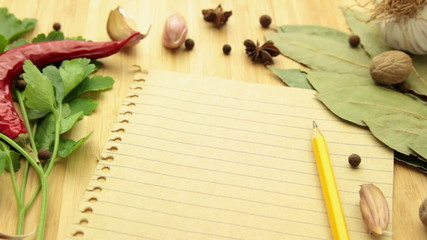 spice and herb with paper tracking