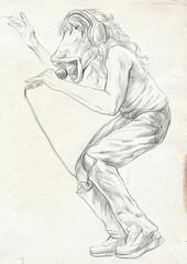 Horse Singer. An hand drawn full sized illustration, original.