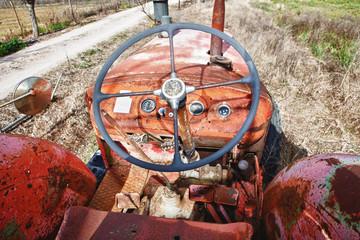 Rusty tractor steering wheel